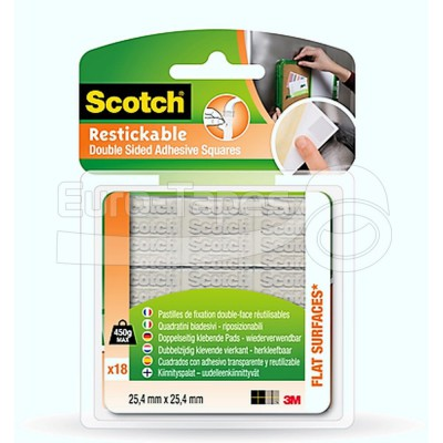 Újrazárható 3M Scotch R100 restickable 25,4mmx25,4mm (18db/bliszter)
